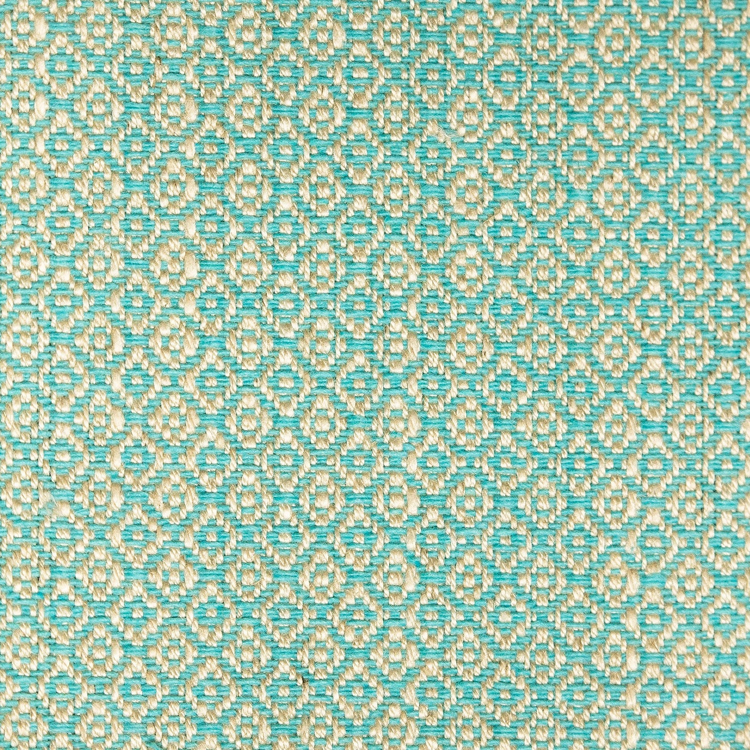 Fabric sample of a turquoise and neutral weave fabric with a small diamond design and stain resistant finish for curtains and upholstery