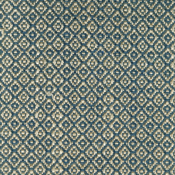 Fabric sample of a bright blue and neutral weave fabric with a small diamond design and stain resistant finish for curtains and upholstery