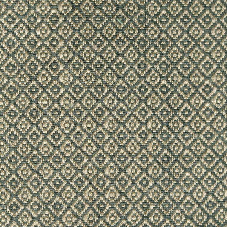 Fabric sample of a dark grey and neutral weave fabric with a small diamond design and stain resistant finish for curtains and upholstery