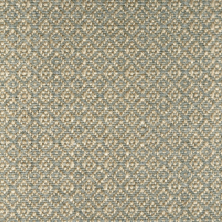 Fabric sample of a blue-grey and neutral weave fabric with a small diamond design and stain resistant finish for curtains and upholstery