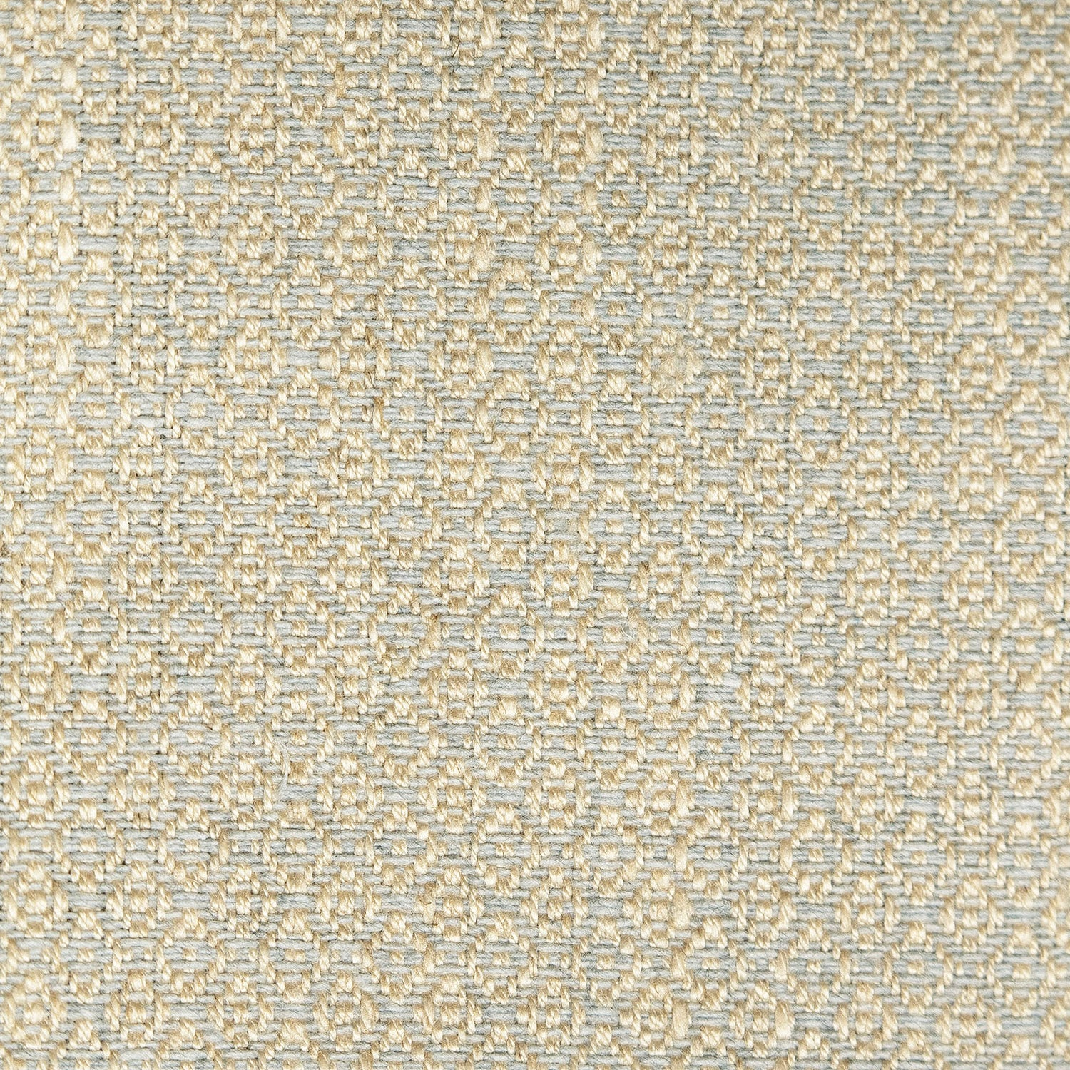 Fabric sample of a light grey and neutral weave fabric with a small diamond design and stain resistant finish for curtains and upholstery