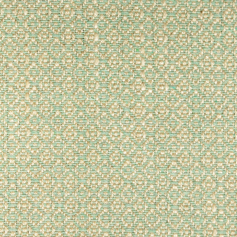 Fabric sample of a mint green and neutral weave fabric with a small diamond design and stain resistant finish for curtains and upholstery