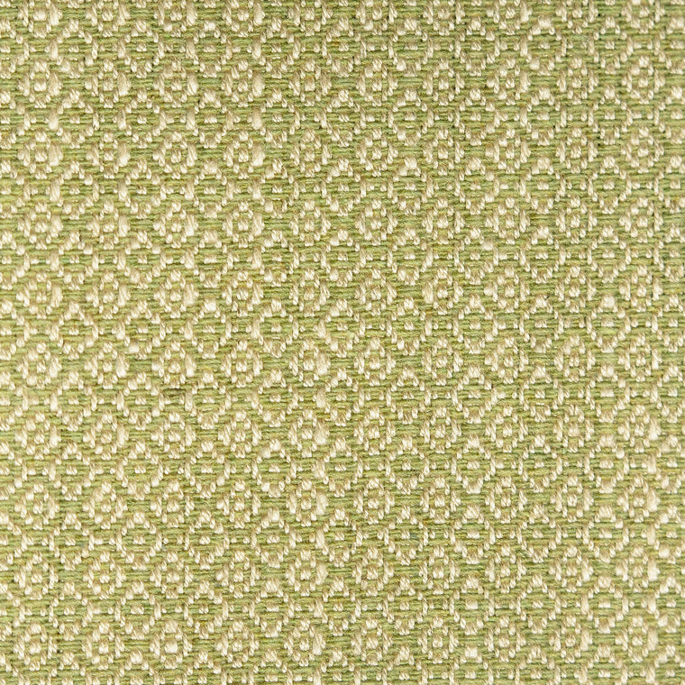 Pear and neutral weave fabric with a small diamond design and stain resistant finish for curtains and upholstery