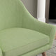 Chair with a green and neutral upholstery fabric with a small diamond weave fabric