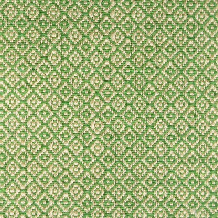 Green and neutral weave fabric with a small diamond design and stain resistant finish for curtains and upholstery