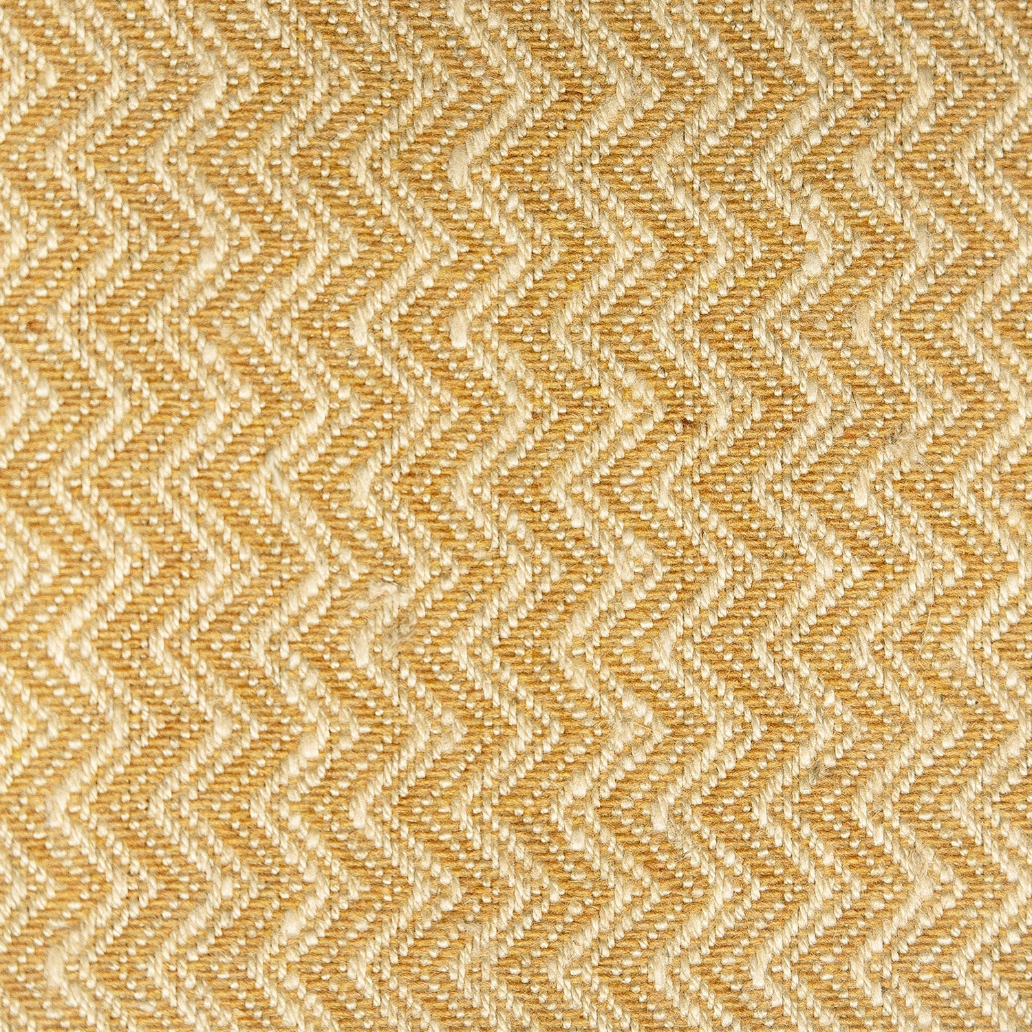 Yellow and neutral chevron weave fabric with a stain resistant finish for curtains and upholstery