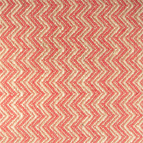 Pink and neutral chevron weave fabric with a stain resistant finish for curtains and upholstery
