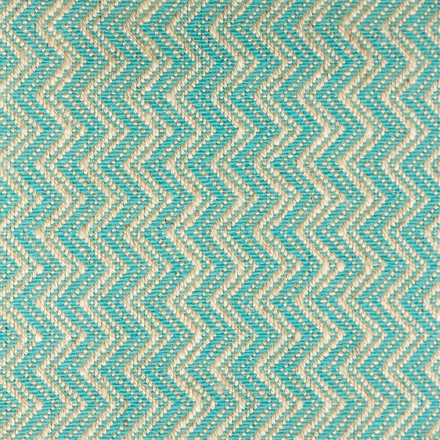 Turquoise and neutral chevron weave fabric for contract and domestic curtains and upholstery