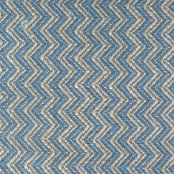 Bright blue and neutral fabric with chevron weave design for contract and domestic curtains or upholstery