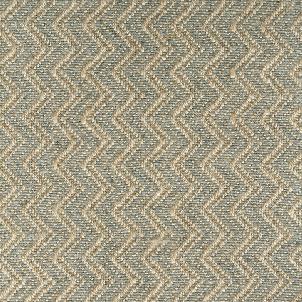 Blue grey fabric for curtains and upholstery with a zig zag weave design