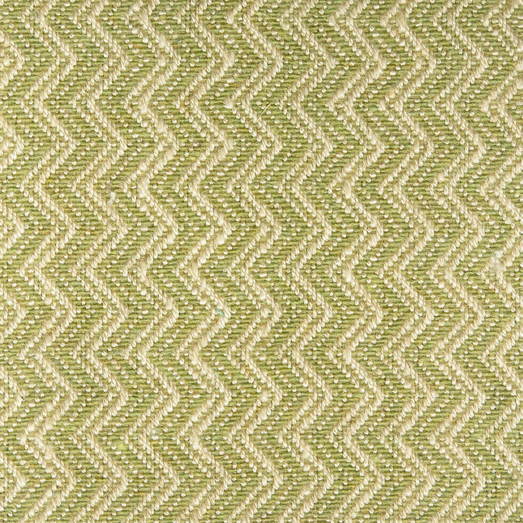 Green upholstery fabric with zig zag weave and stain resistant finish