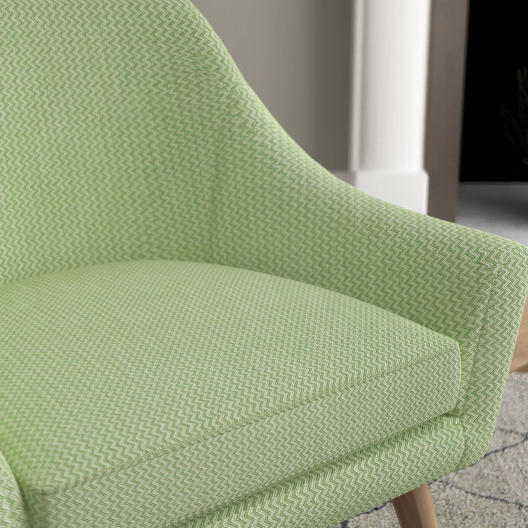 Chair in a green upholstery weave fabric with chevron design