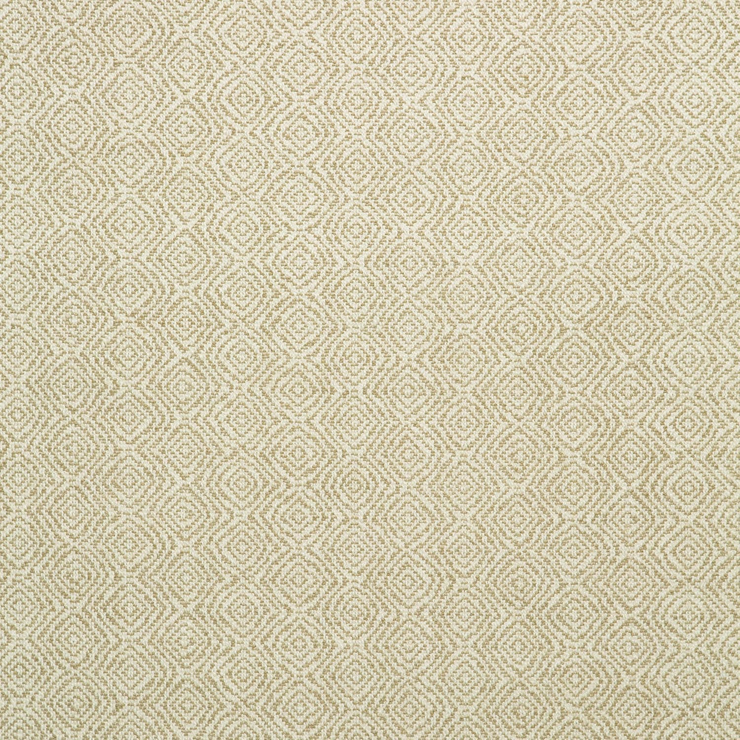 Fabric swatch of a beige and white geometric weave fabric for upholstery