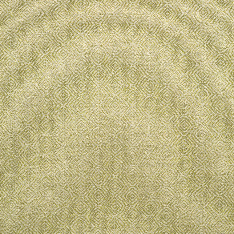 Fabric swatch of a yellow and neutral geometric weave fabric for upholstery