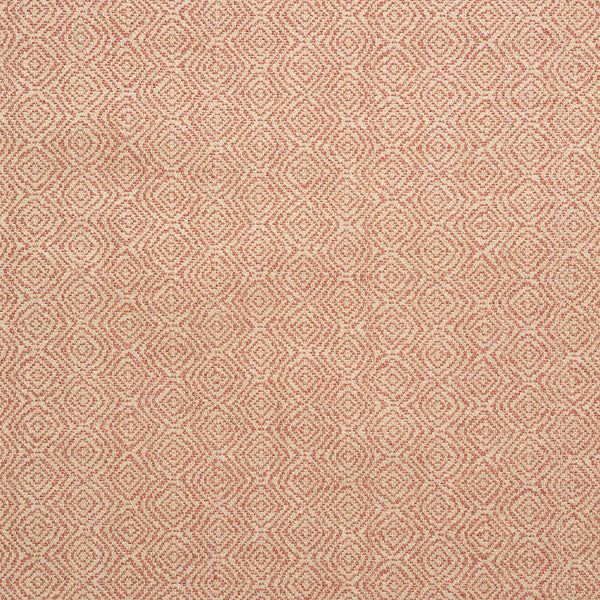 Fabric swatch of a coral and neutral geometric weave fabric for upholstery