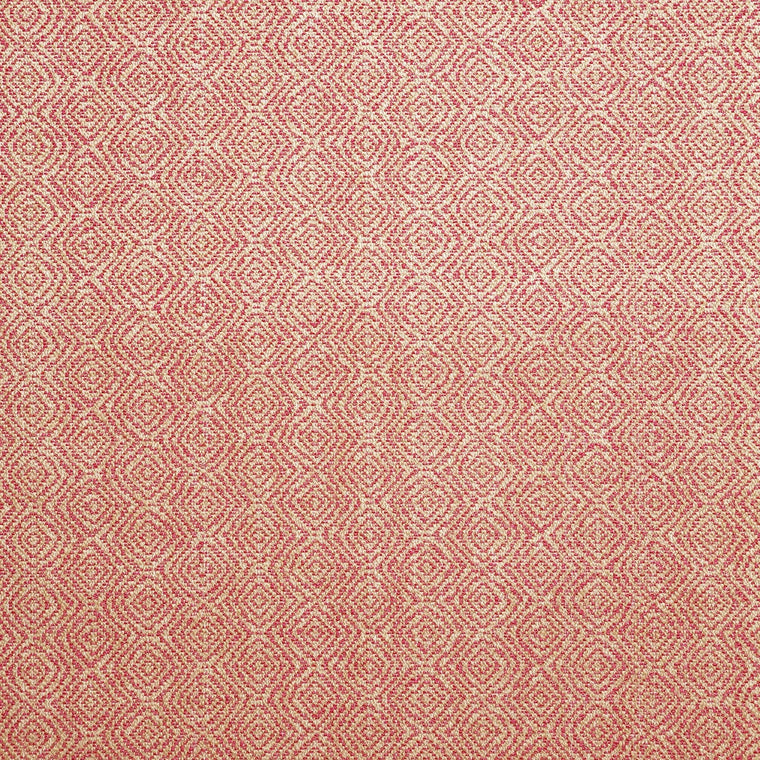 Fabric swatch of a red and neutral geometric weave fabric for upholstery