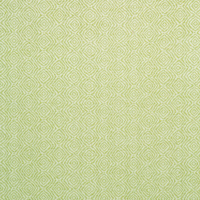 Fabric swatch of a apple green and white geometric weave fabric for upholstery