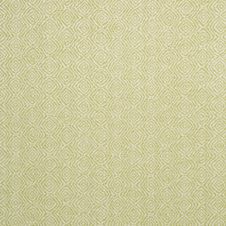 Fabric swatch of a green and white geometric weave fabric for upholstery