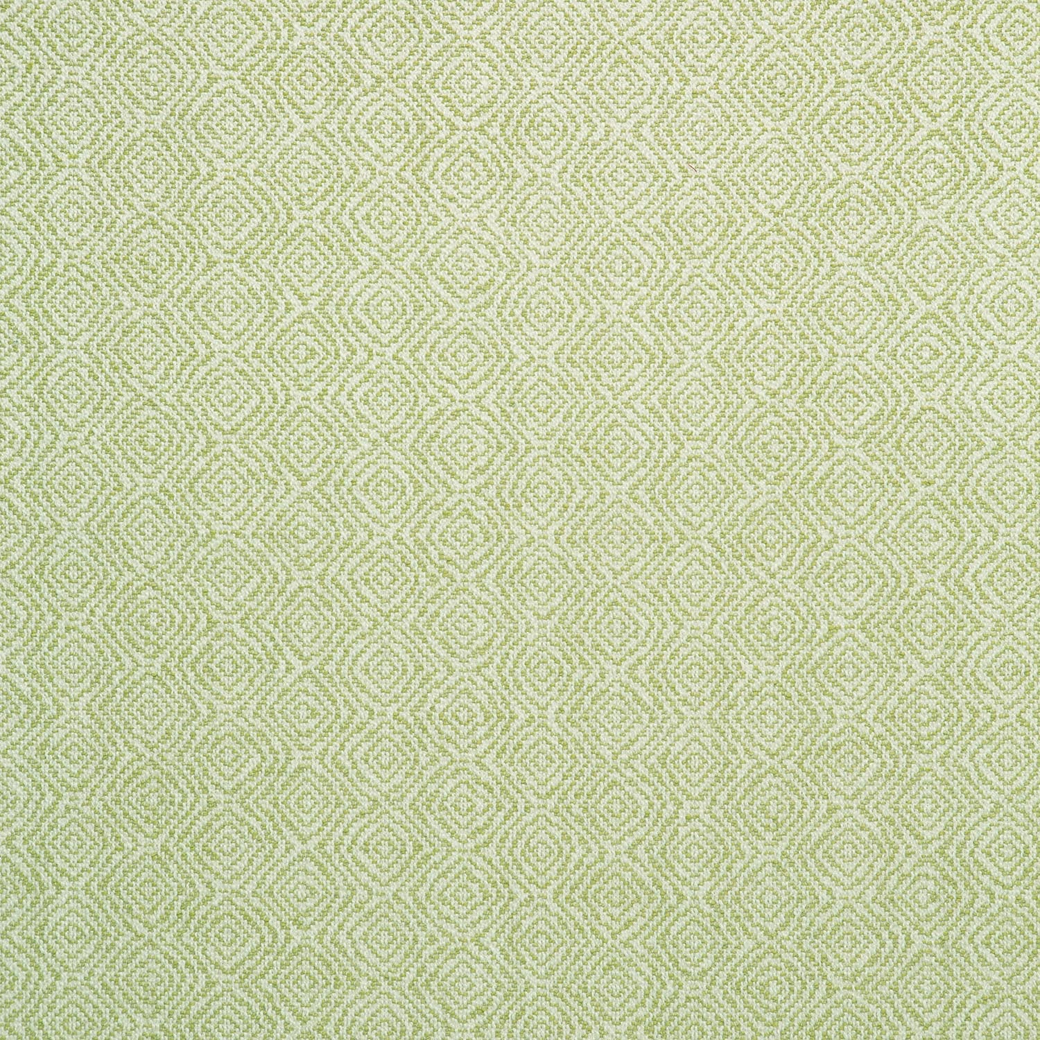 Fabric swatch of a bright green and white geometric weave fabric for upholstery