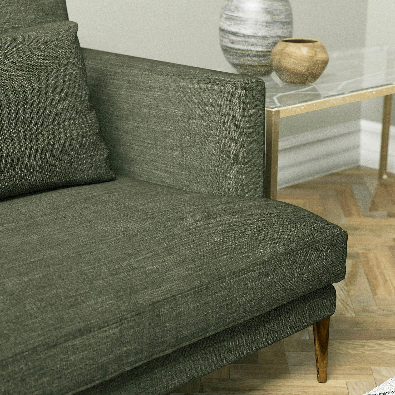 Sofa in a grey linen mix upholstery fabric