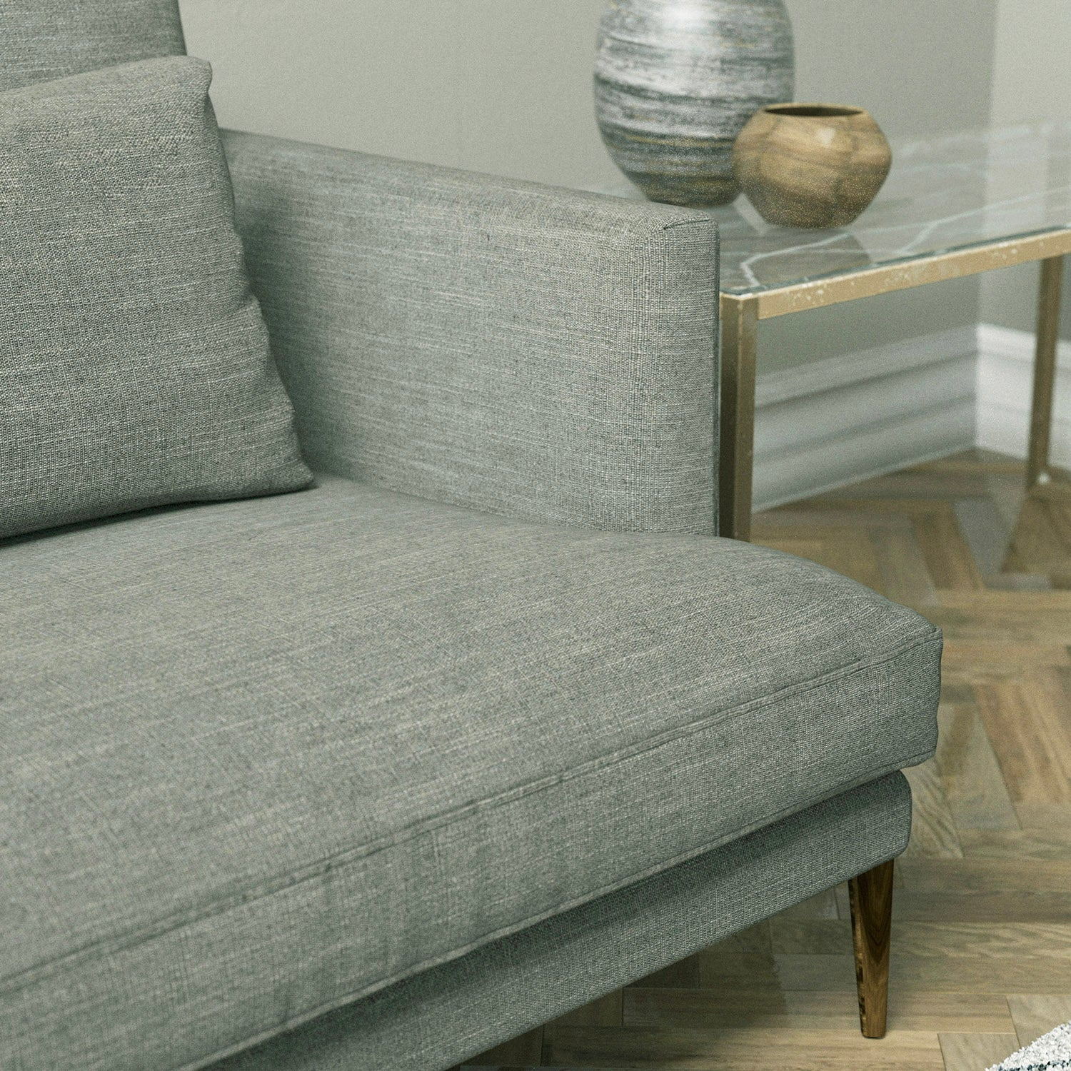Sofa upholstered in a grey linen mix fabric