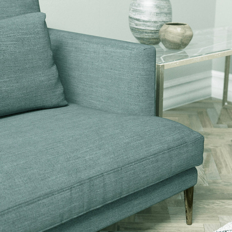Sofa in a blue linen mix upholstery fabric