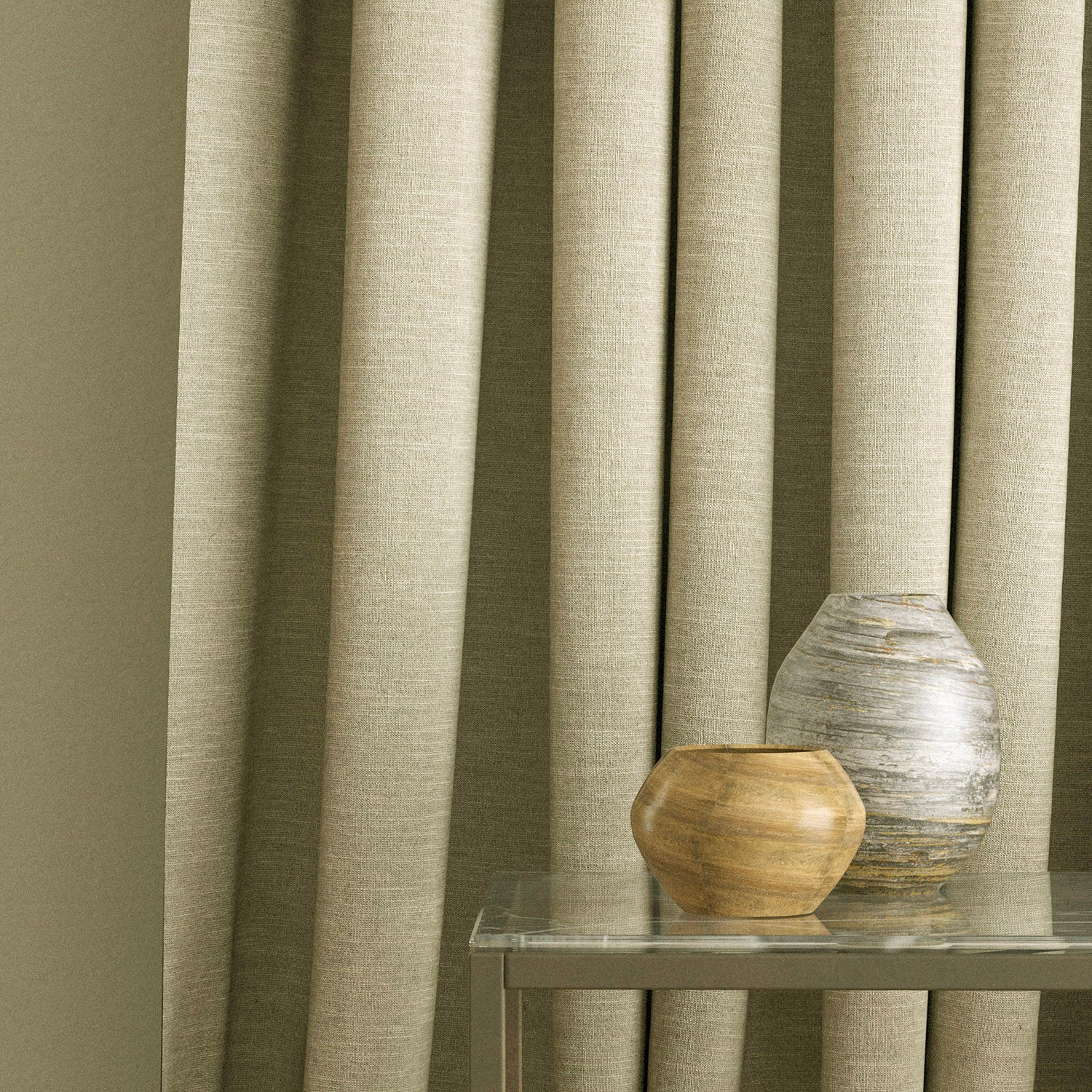 Curtains in a linen coloured plain fabric