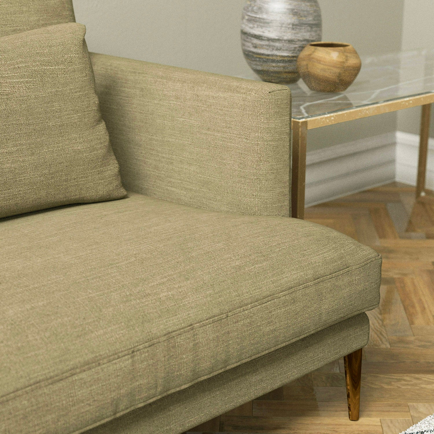 Sofa upholstered in a plain golden beige linen blend fabric