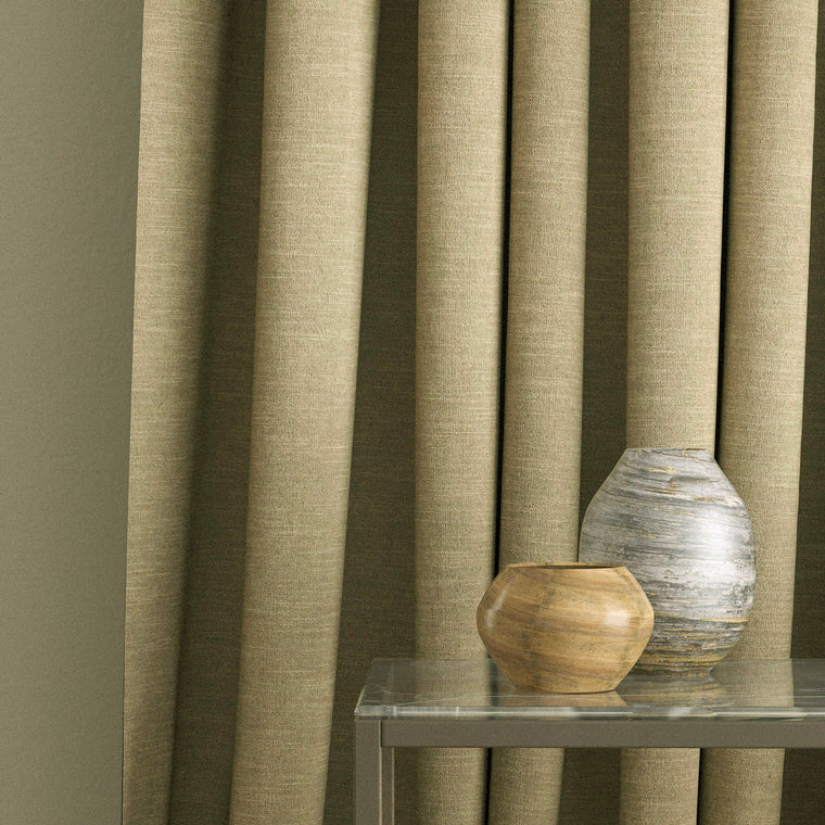 Curtains in a golden beige linen mix fabric