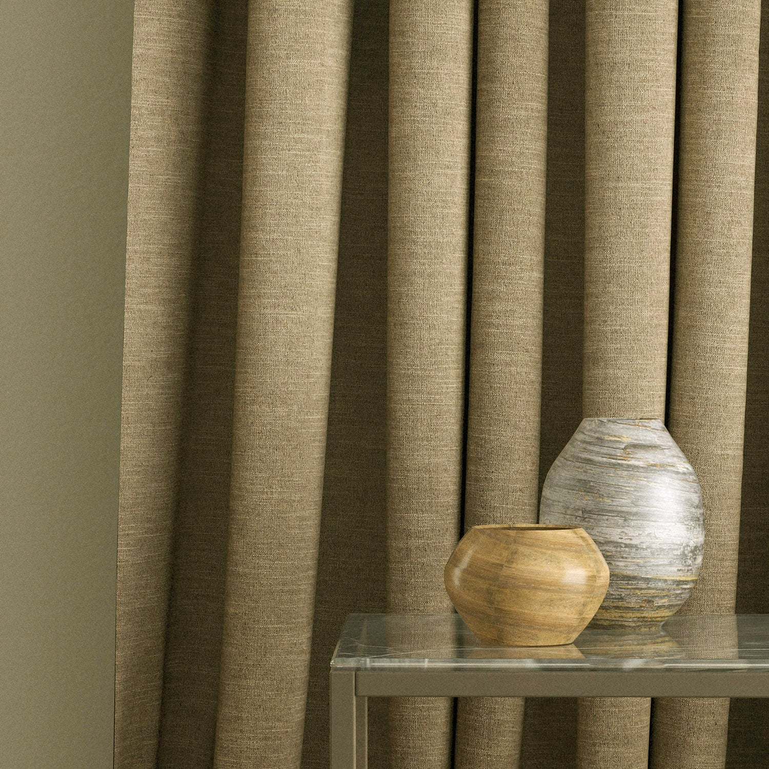 Curtain in a plain brown linen blend fabric