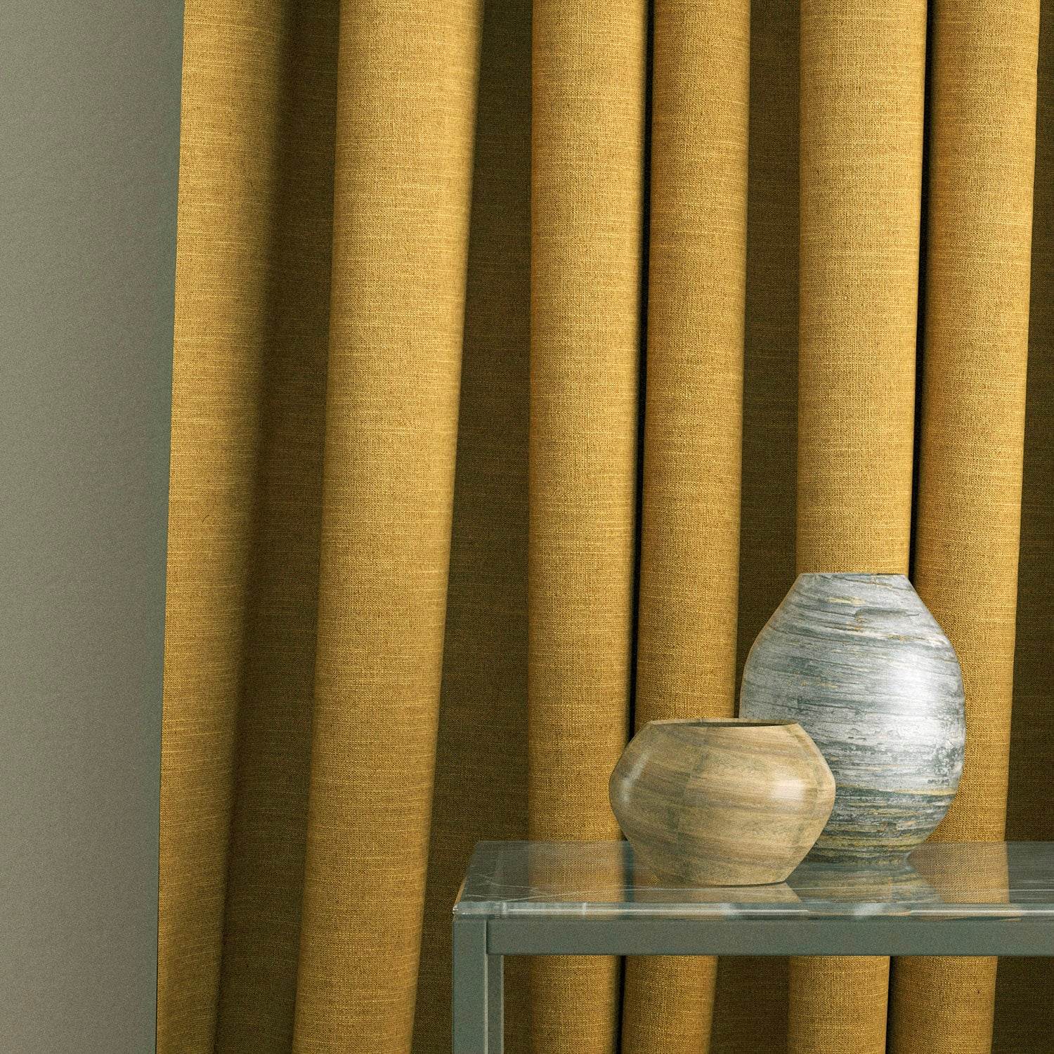 Curtain in a ochre yellow linen blend fabric