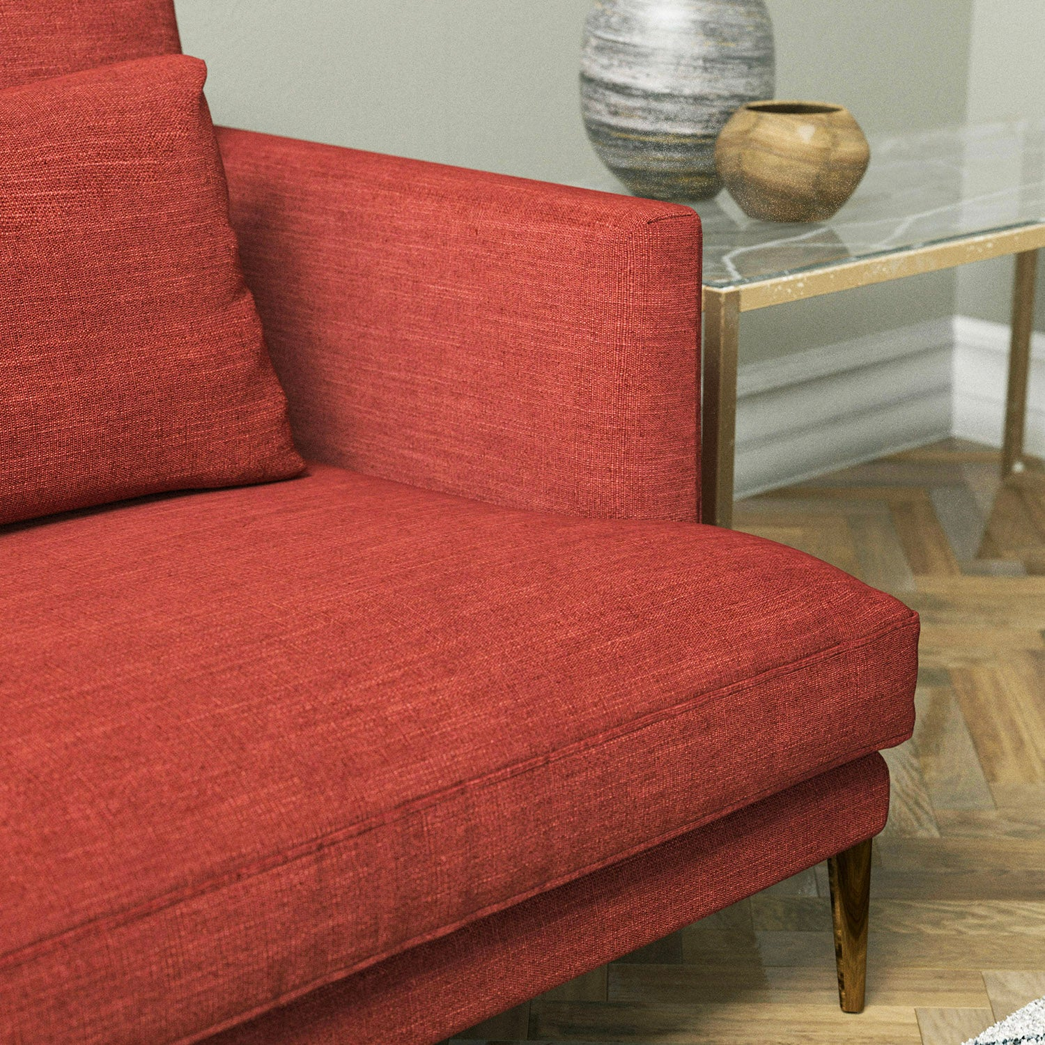 Sofa in a red linen blend upholstery fabric