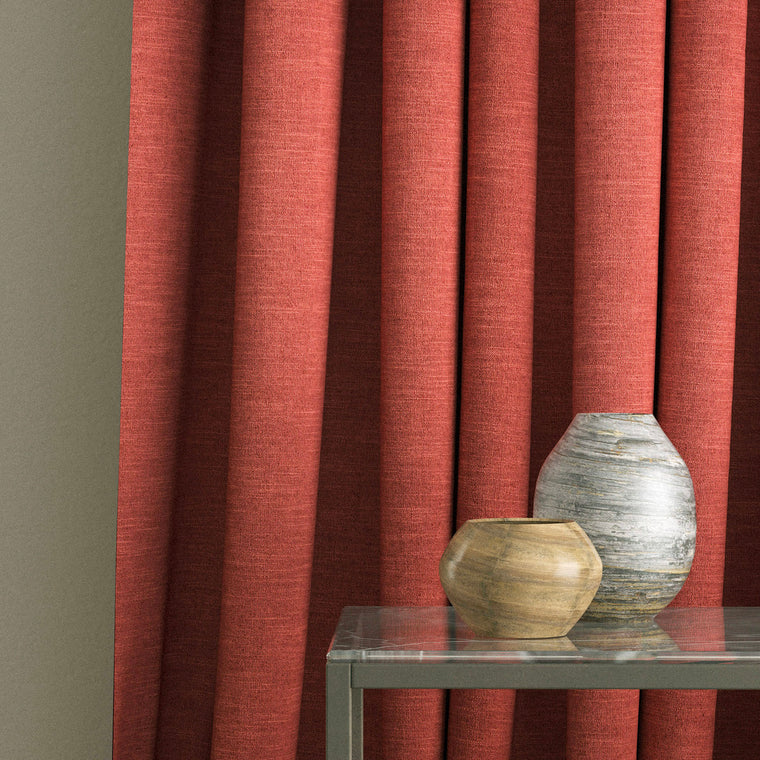 Curtain in a red linen mix fabric suitable for contract and domestic use