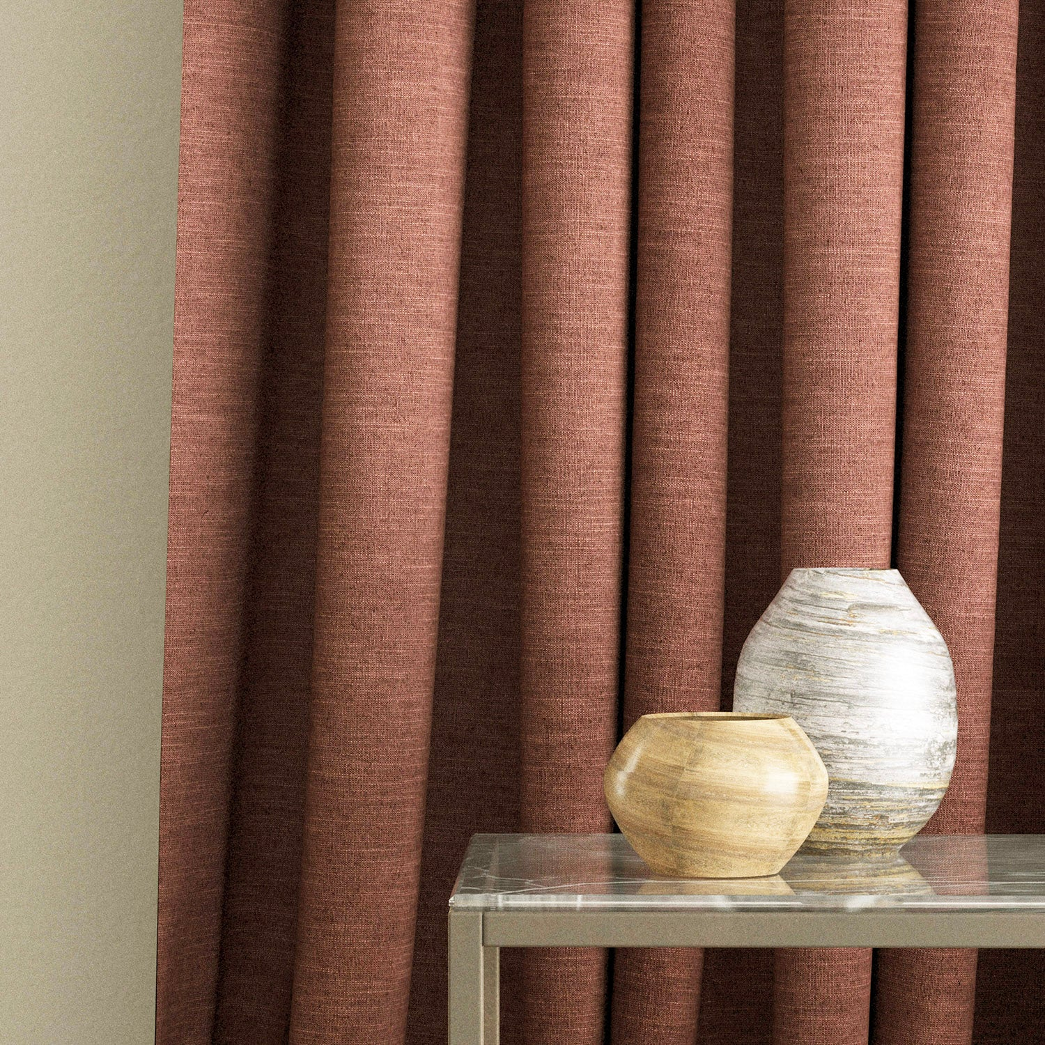 Curtain in a terracotta linen blend fabric