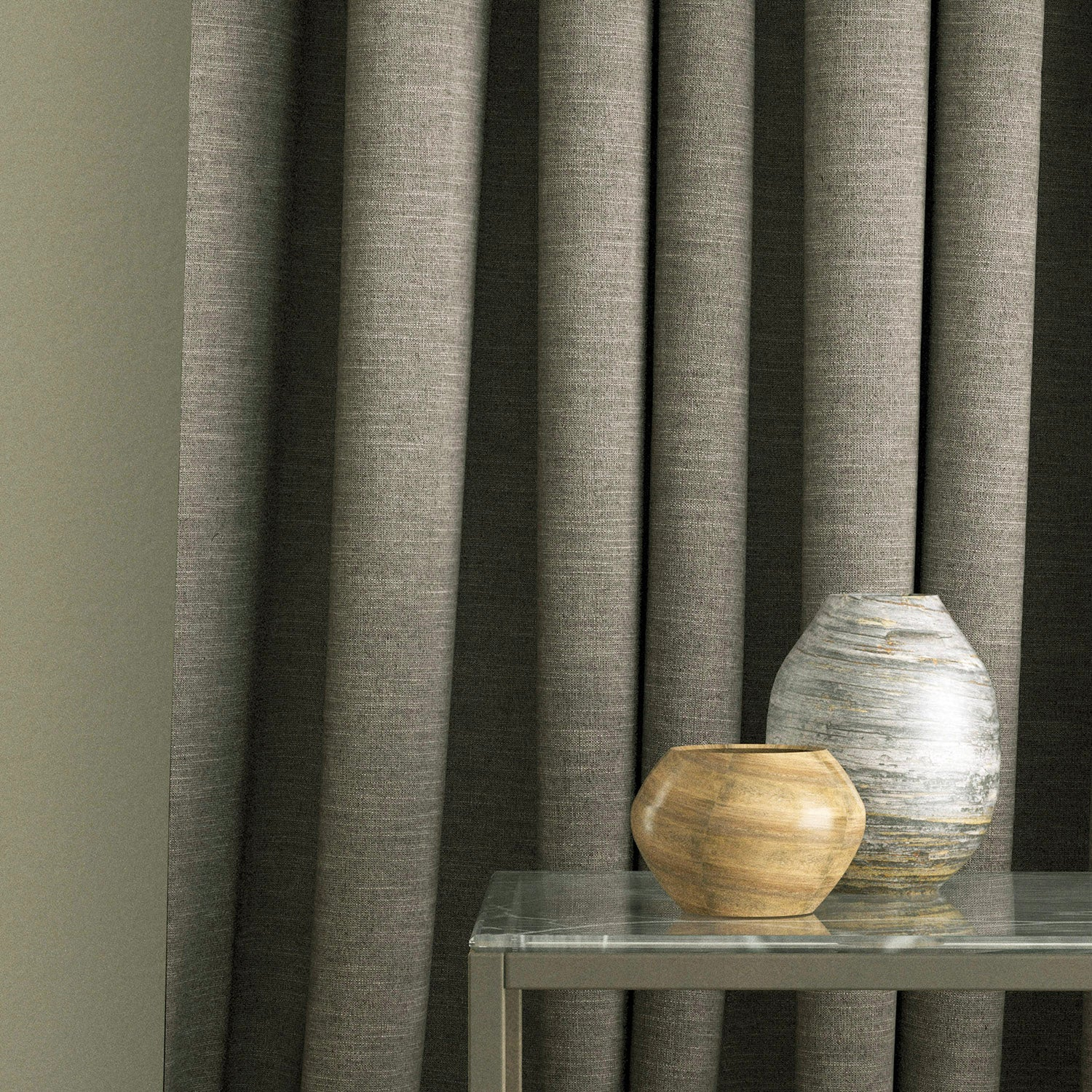 Curtain in a brown linen blend fabric for domestic and contract use