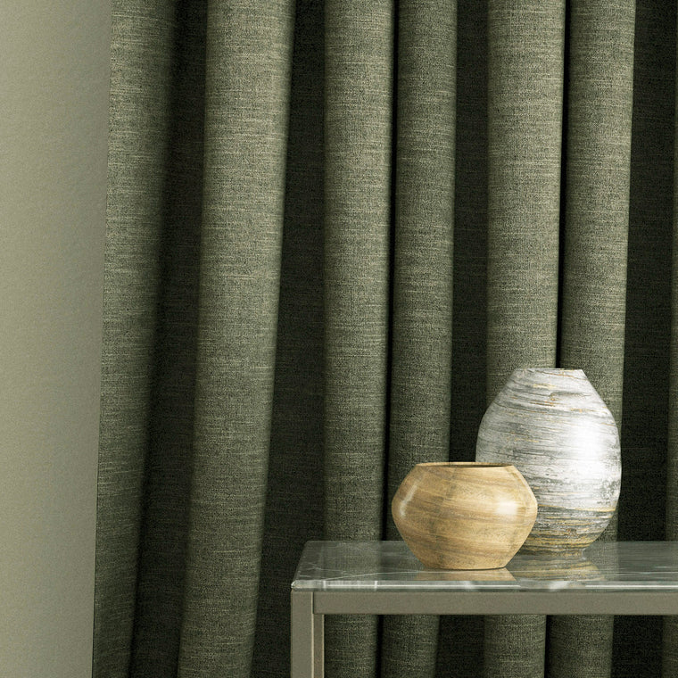 Curtains in a dark grey linen blend fabric