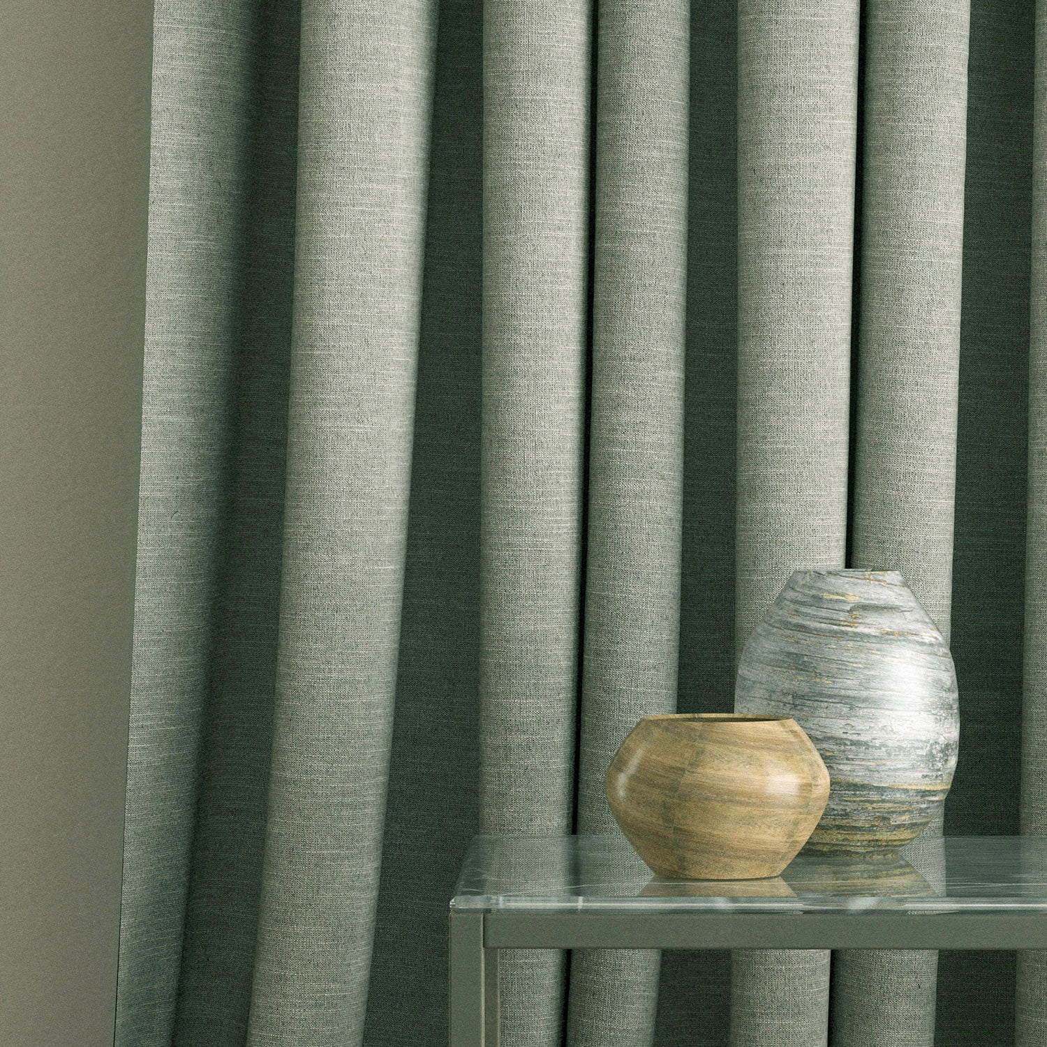 Curtains in a light grey linen mix fabric