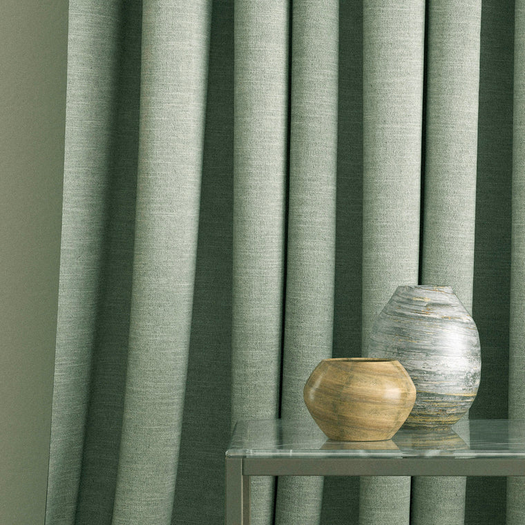 Curtain in a light grey linen blend fabric