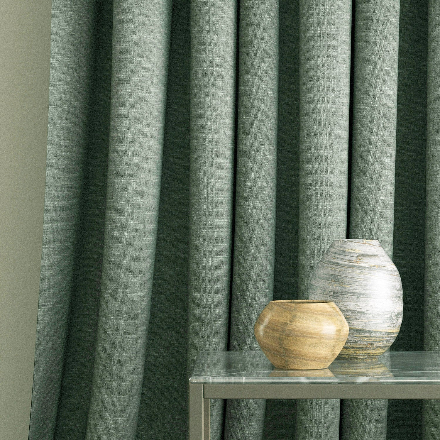 Curtains in a grey linen mix fabric