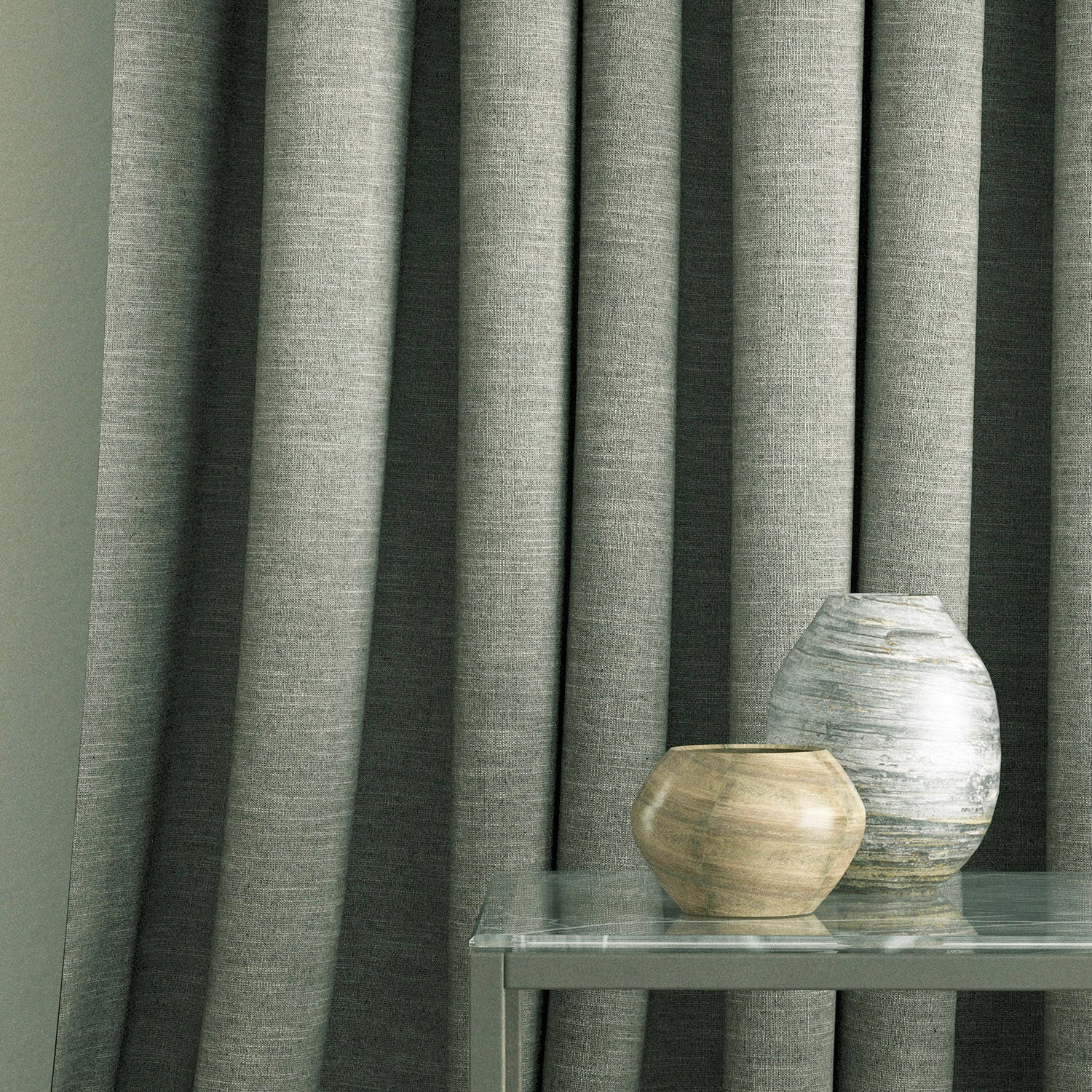 Curtain in a grey linen blend fabric