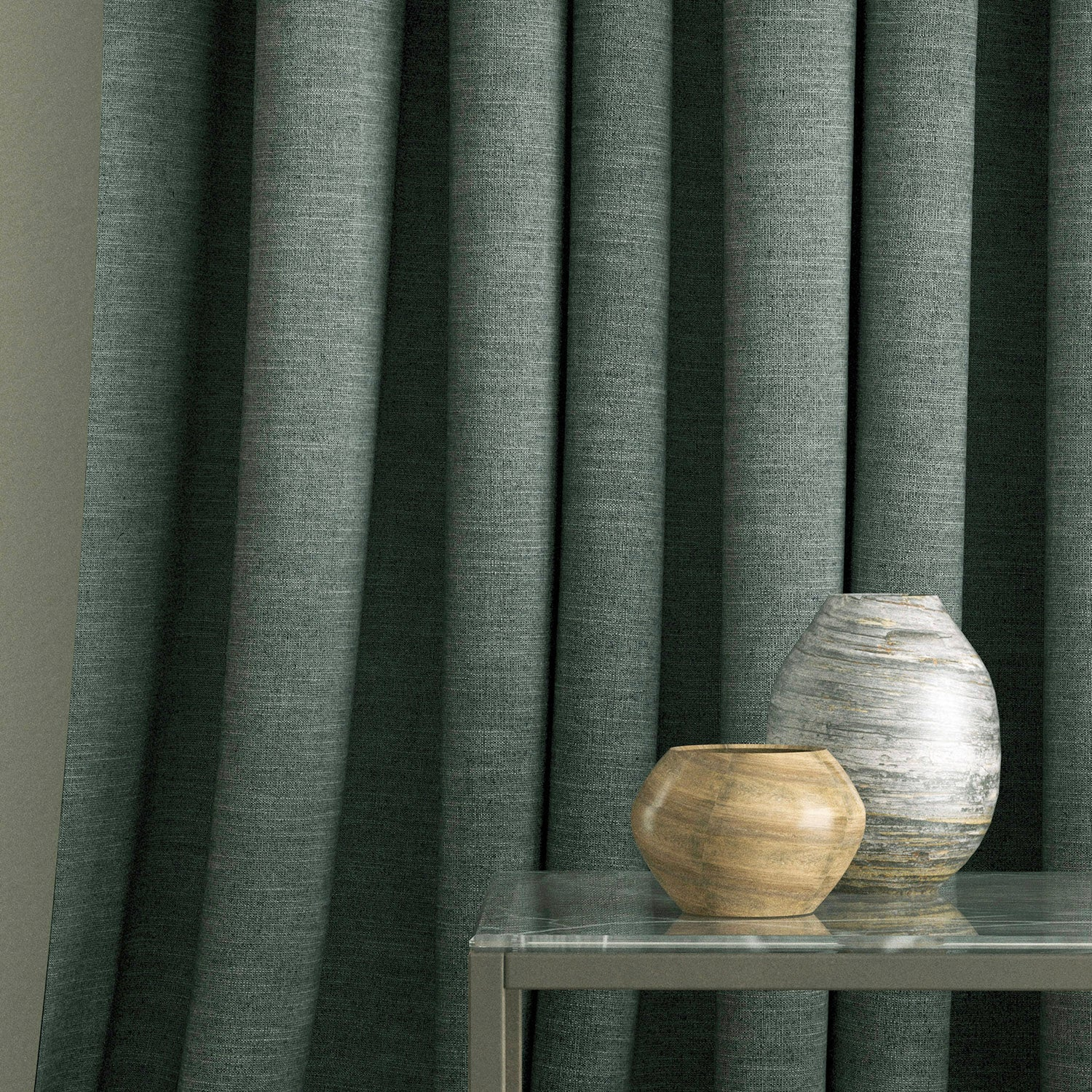 Curtain in a dark grey linen mix fabric