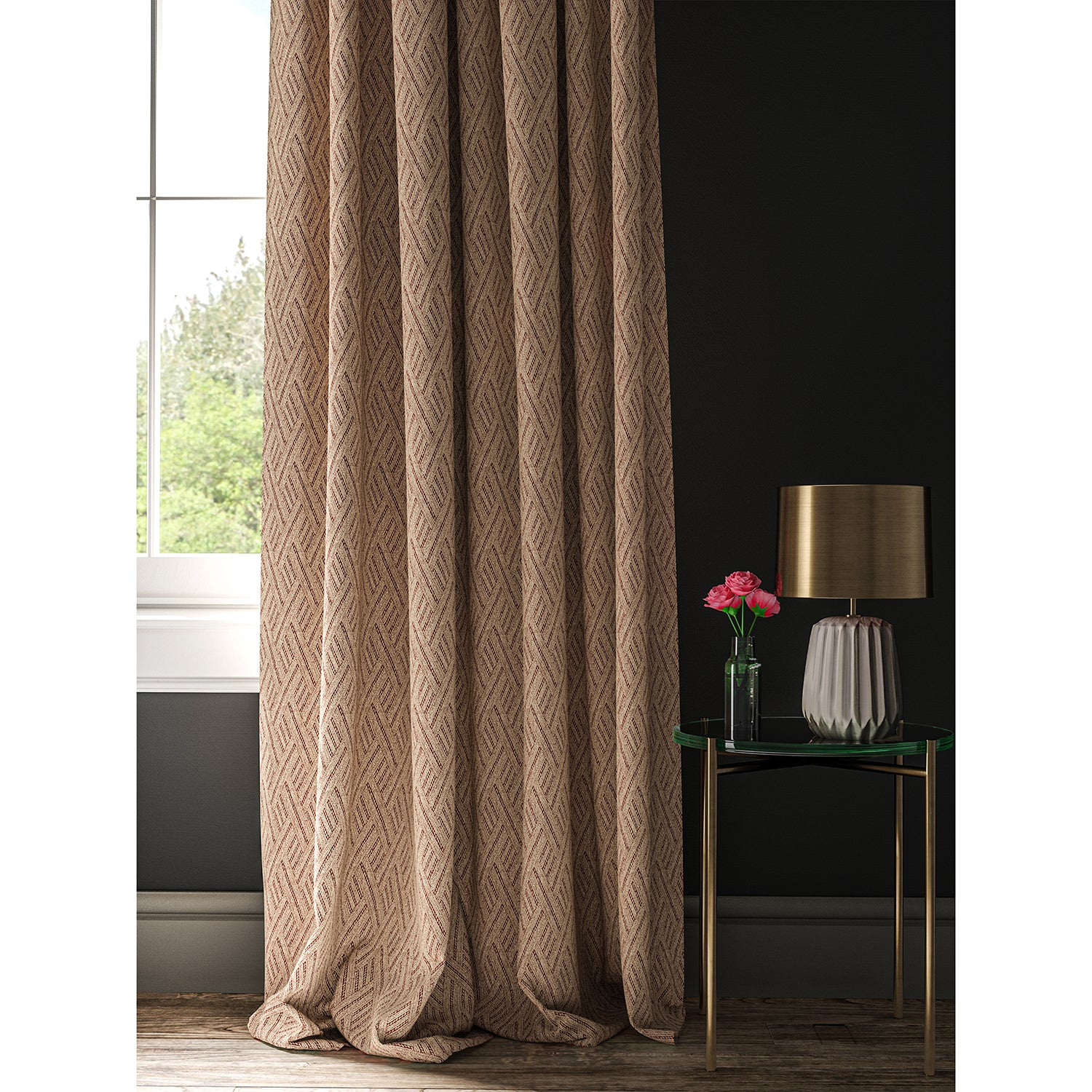 Curtain in a red and neutral geometric weave fabric