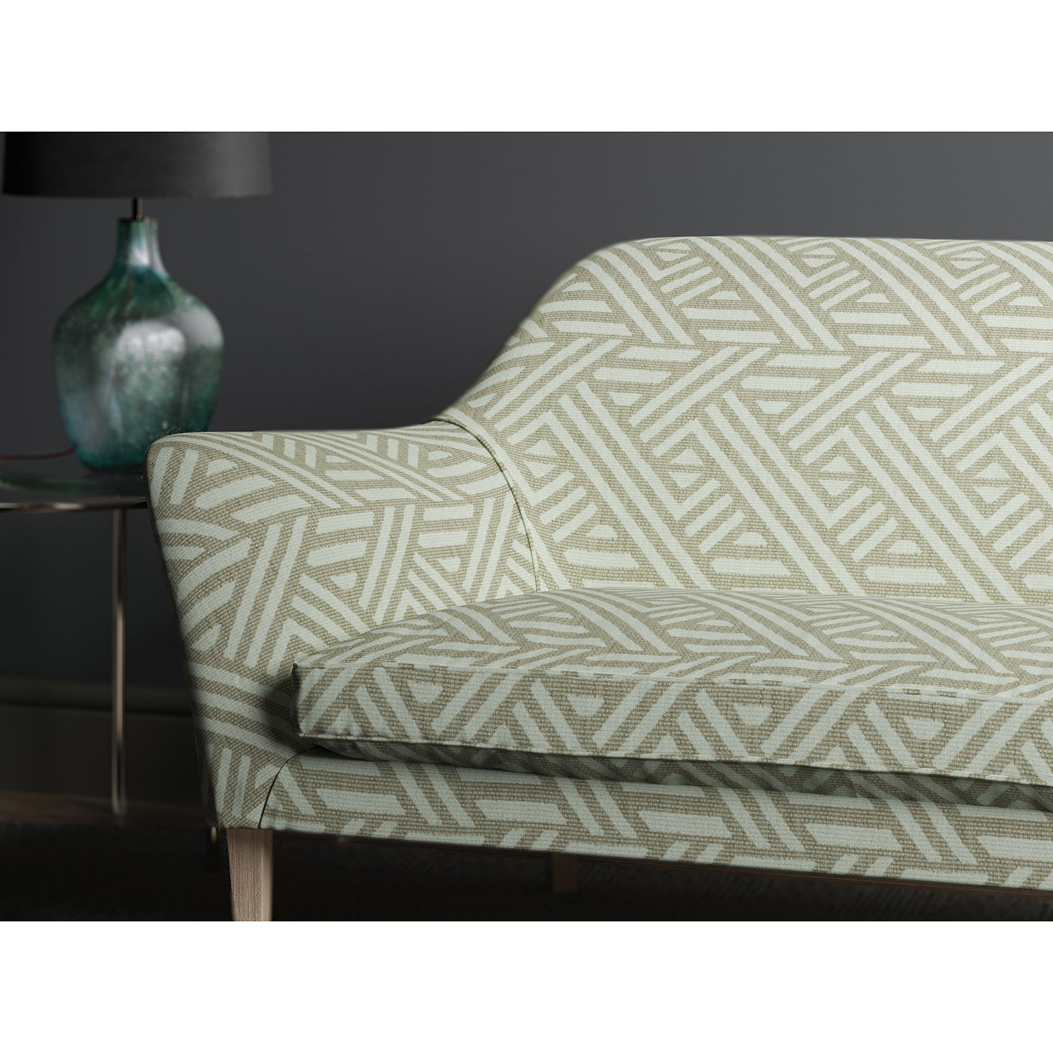 Sofa upholstered in design name Pampas colourway Dove from Tango