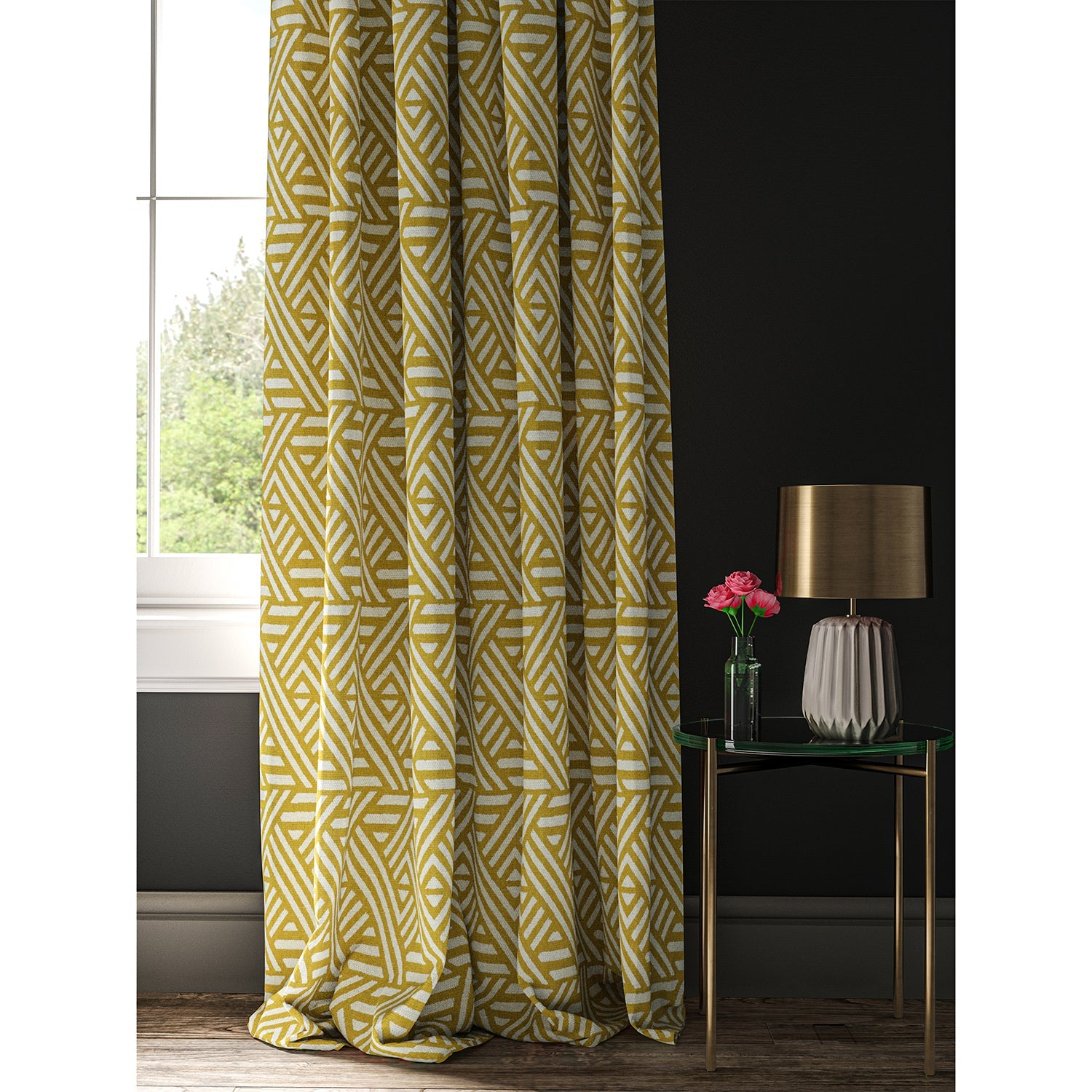 Curtain with a yellow and white geometric print fabric