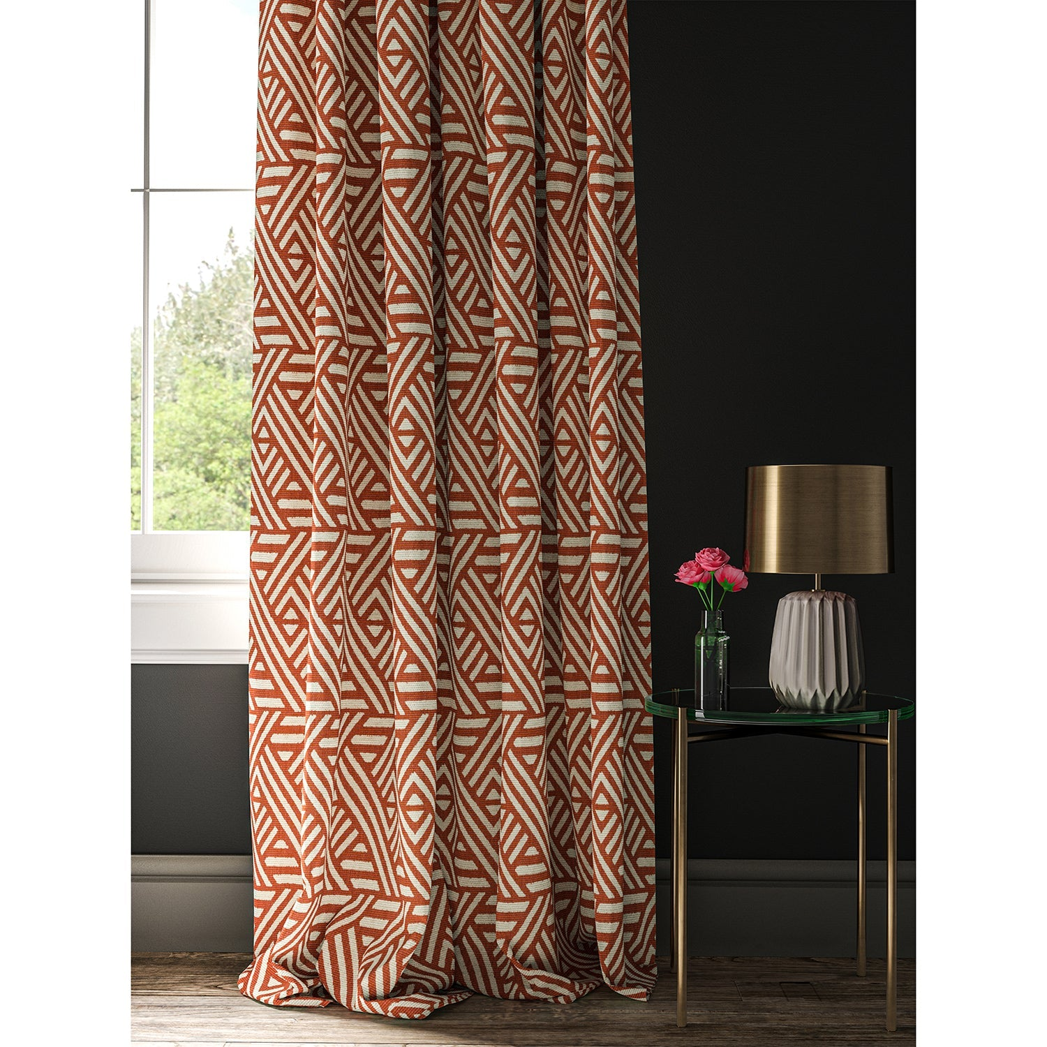 Curtain made with a orange and white geometric print fabric