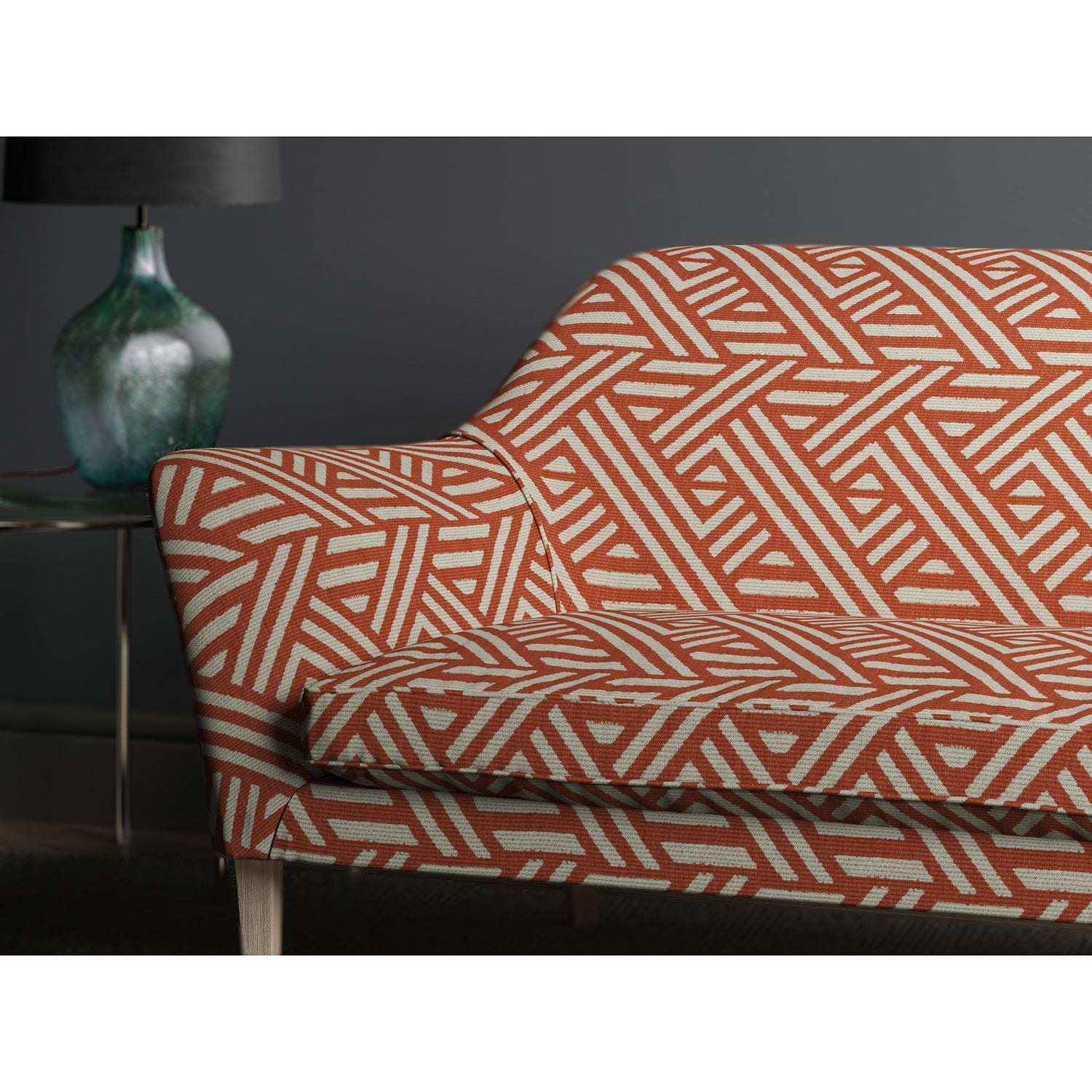 Sofa upholstered in design name Pampas, colourway Chilli from the Tango collection