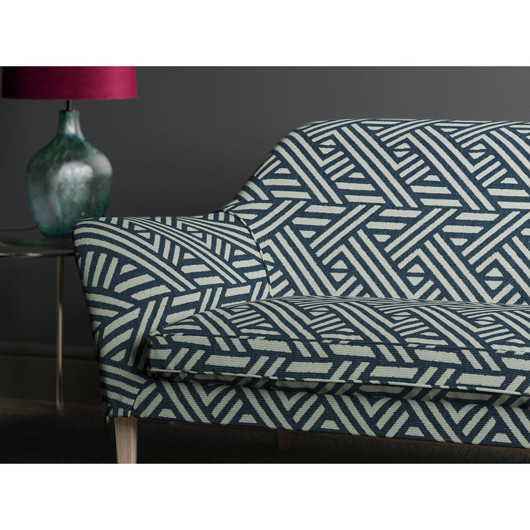 Sofa upholstered in design name Pampas, colourway Ocean from Tango