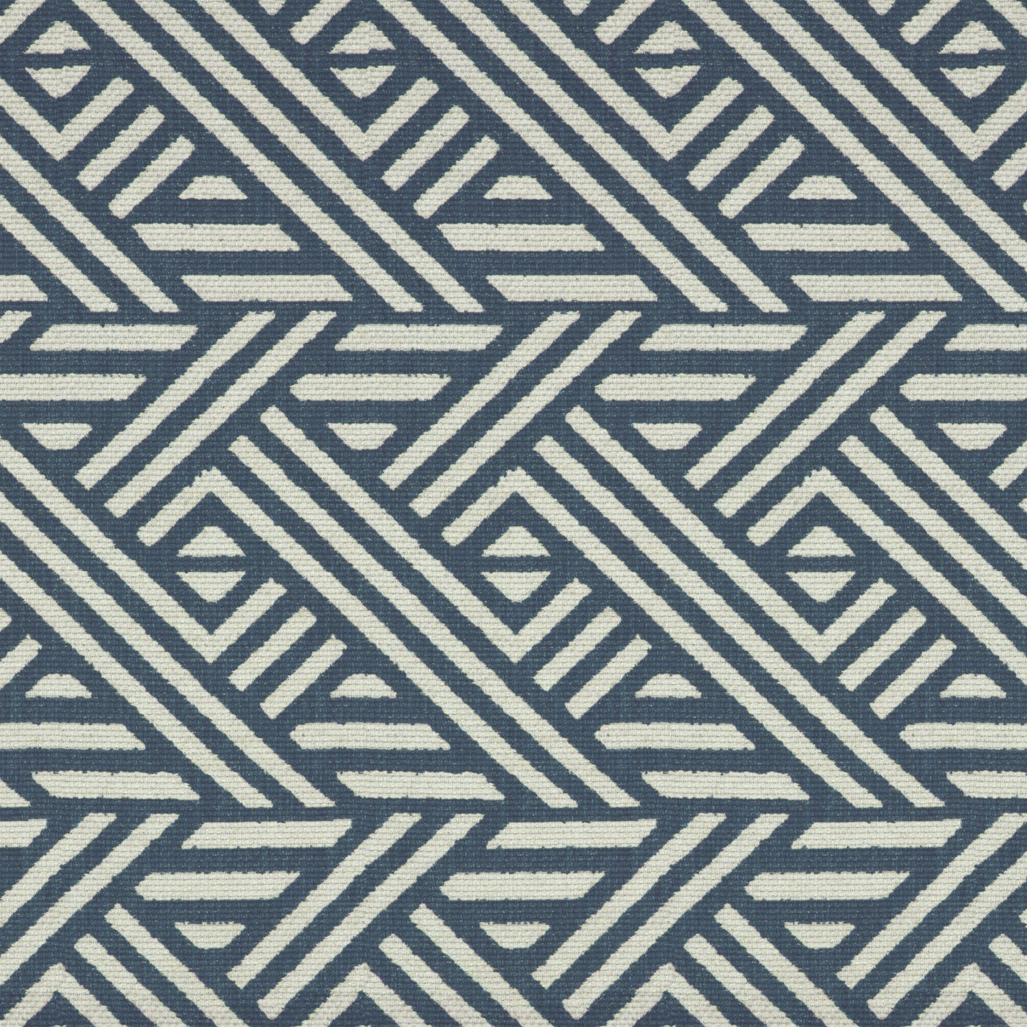 Blue and white geometric print fabric suitable for curtains and upholstery