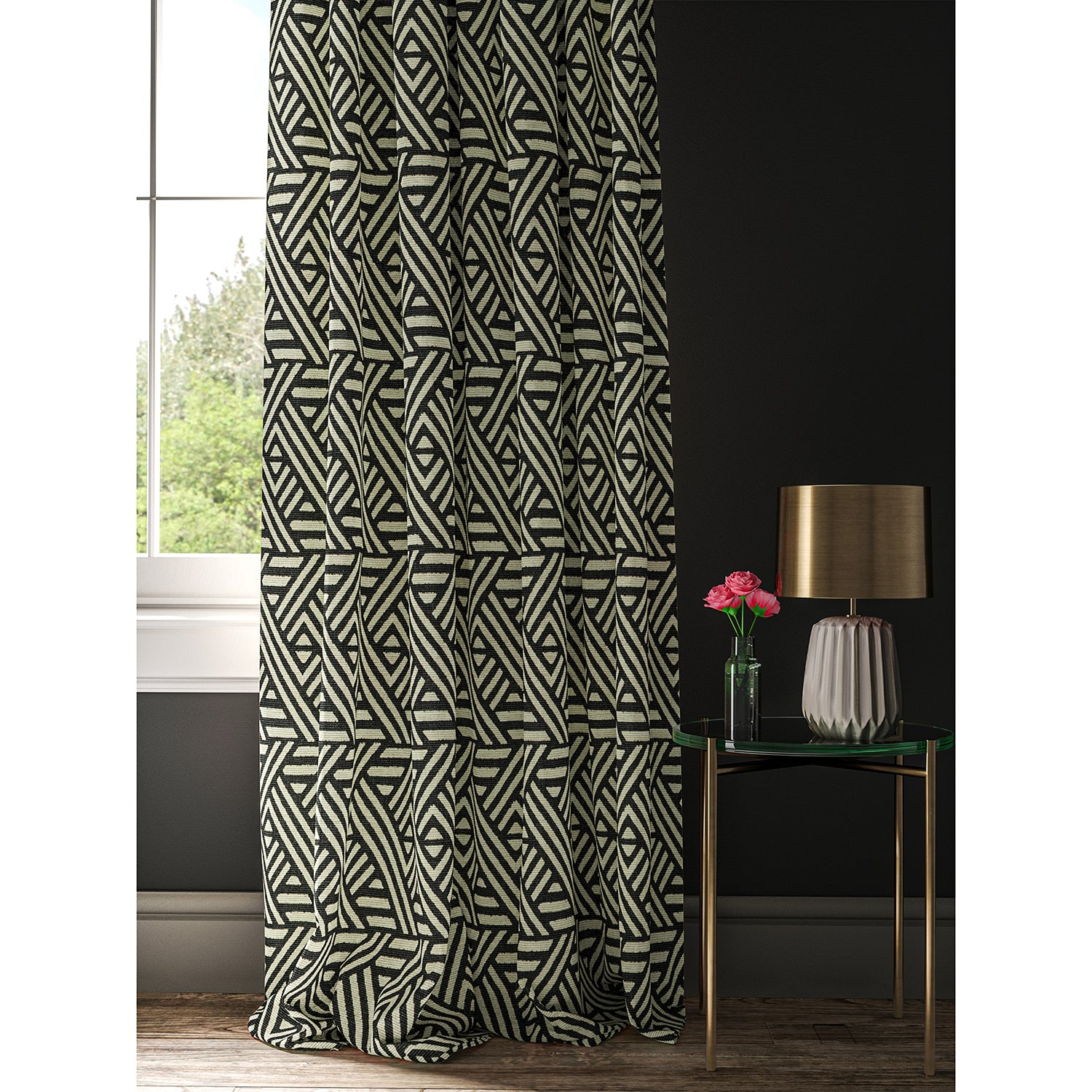 Curtain with a monochrome geometric print fabric
