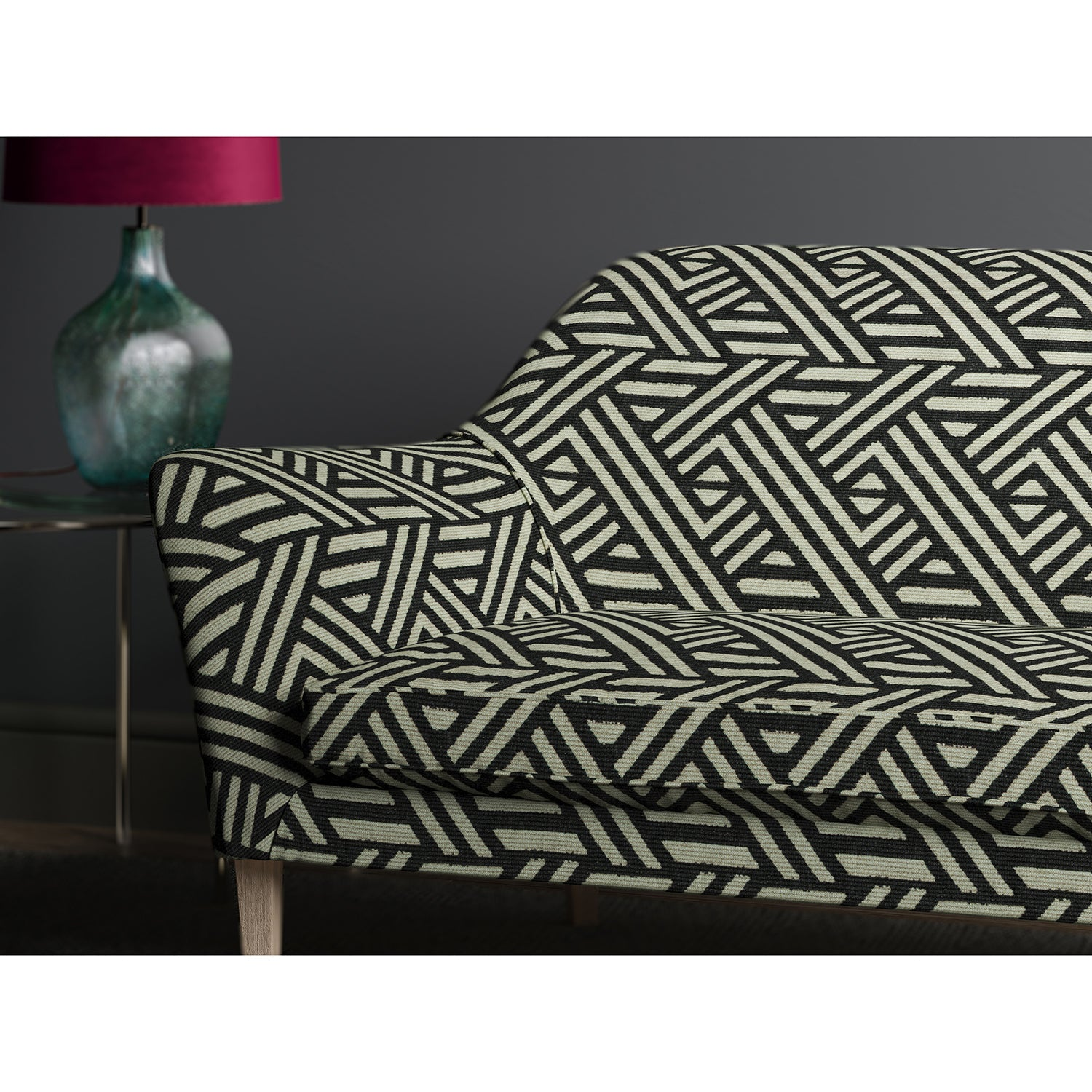 Sofa in design name Pampas, colourway Charcoal from Tango